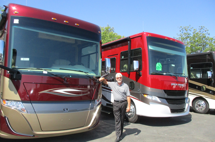 Mike Doyle, new Parts Director in front of Tiffin Motorhomes
